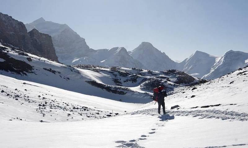 треккинг в Непале - путник в Гималаях