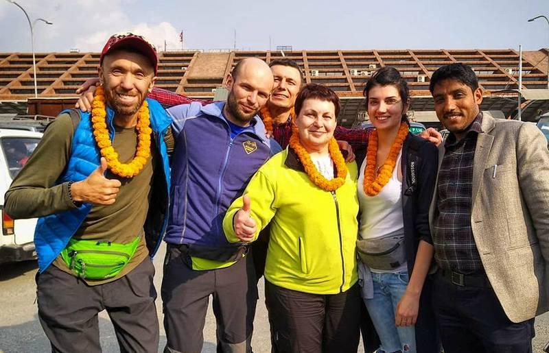 Группа туристов в Непале